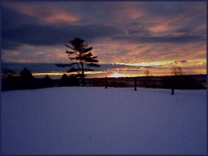 winter sunrise in Lincolnville Maine